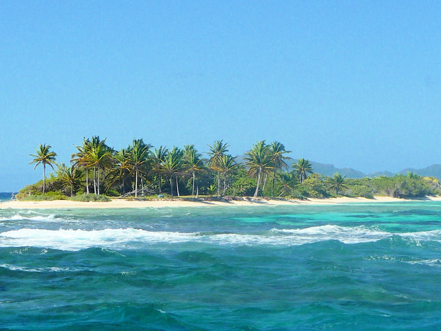 Palm tree island southern Caribbean location