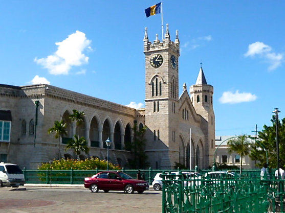 colonial government buildings in Bridgetown, Barbados capital city