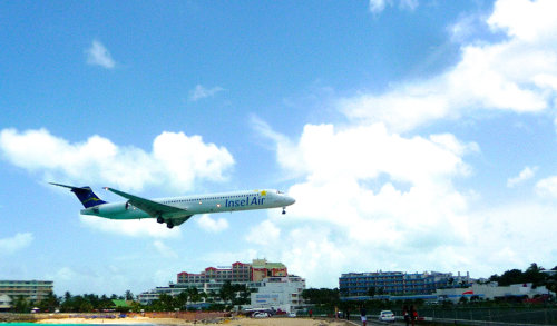 St. Martin, low plane over Maho beach