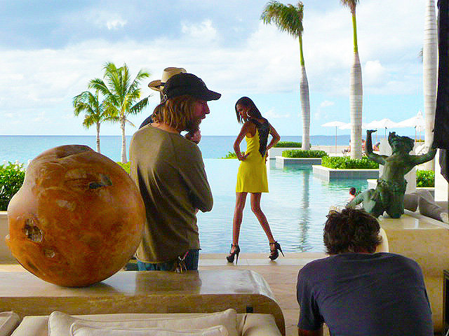 Fashion advertising shooting for Macy's with model Joan Smalls in Anguilla, Caribbean