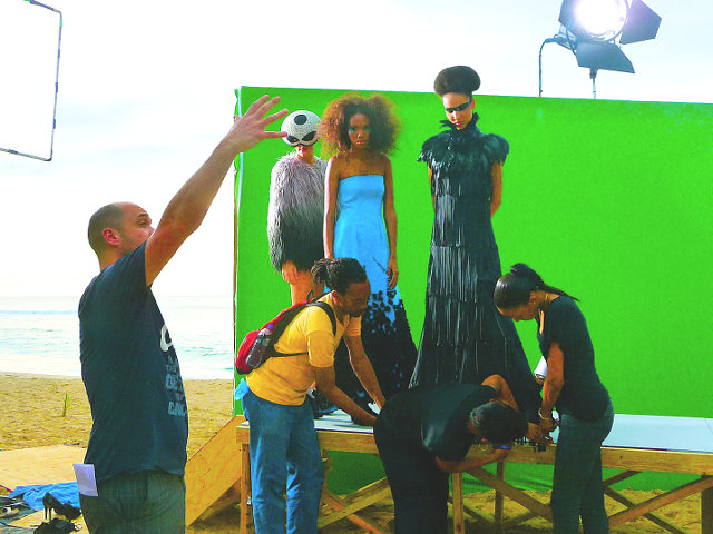 TV commercial shoot on Caribbean beach