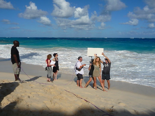 Sunny weather Caribbean filming