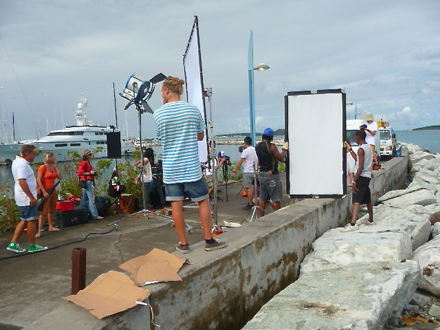 Film production equipage pier St. Martin