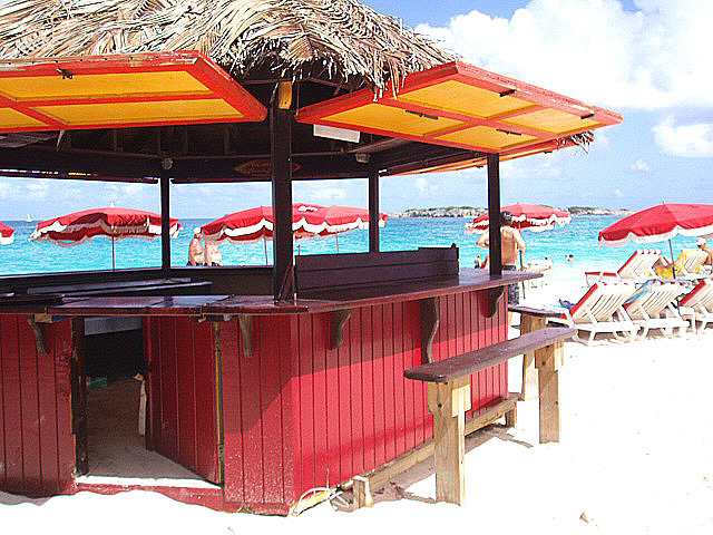 Beach bar colorful wood St. Martin location