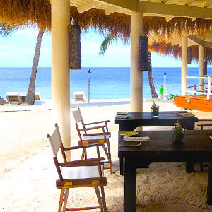 Picturesque beach bar on white beach location in St. Lucia