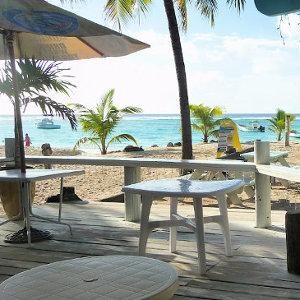 Tropical, rustic Caribbean beach bar for photo shooting