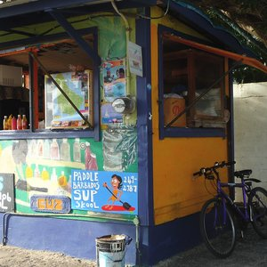 Colorful Caribbean market stand location