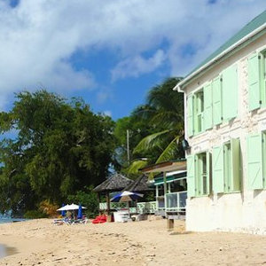Traditional coral stone house on Caribbean beach
