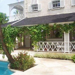 Luxury plantation house terrace in traditional design on Barbados location