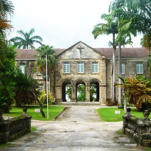 Massive colonial coral stone  building in Caribbean park location
