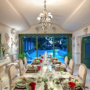 Traditional luxury Caribbean colonial dining room interior