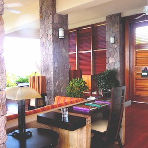 Tropical modern wood stone interior in Caribbean luxury design hotel