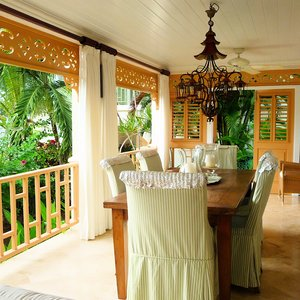 Tropical open veranda  dining room in the Caribbean