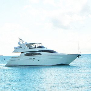 Luxury modern motor yacht prop for TV commercial shoot in the Caribbean