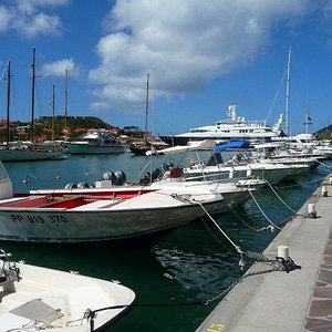 St. Barts, marina with motor boats and yachts