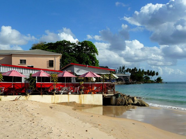 Caribbean beach bar veranda location