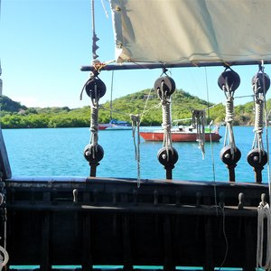 Old fashioned Caribbean pirates ship prop in Martinique