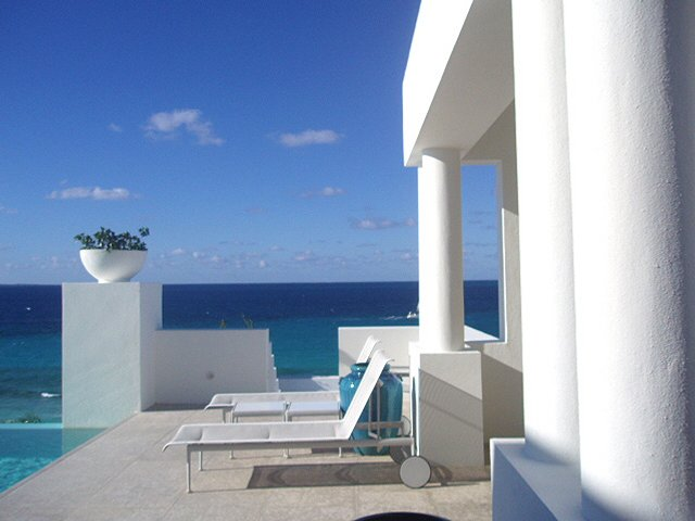 Modern white Caribbean terrace on beach loction Anguilla