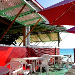 Colorful beach bar terrace on Caribbean location