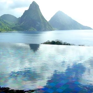 Infinity pool location with mountain view in St. Lucia