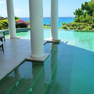 Luxury pool in Caribbean resort with sea view