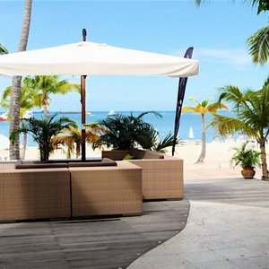 Wooden deck in beach bar in Sint Maarten