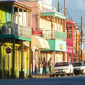 Colorful local Caribbean street in  small town
