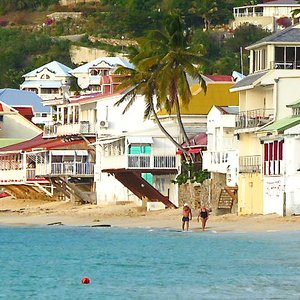 French Antilles town on beach location