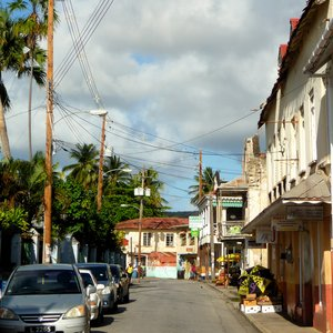 Town shops in old fashioned small Caribbean street