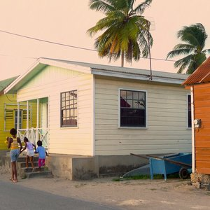 Small Caribbean village wood house location
