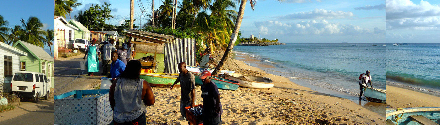 Fishermen in Caribbean fishing village location