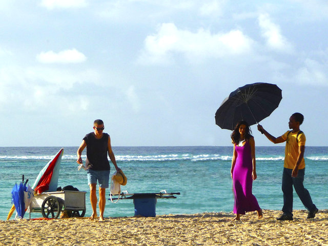 Photo production team on Barbados beach location in the Caribbean