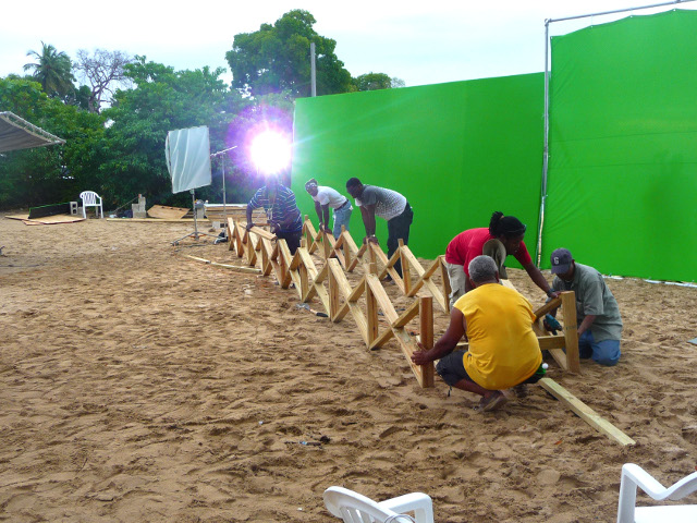 Caribbean art department crew, set building for production of Digicel television commercial video