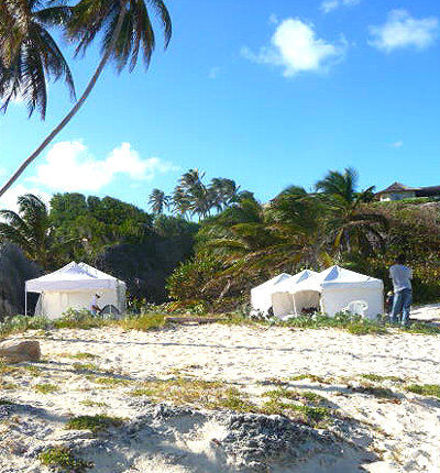 Production tents, camp set up on Caribbean beach location