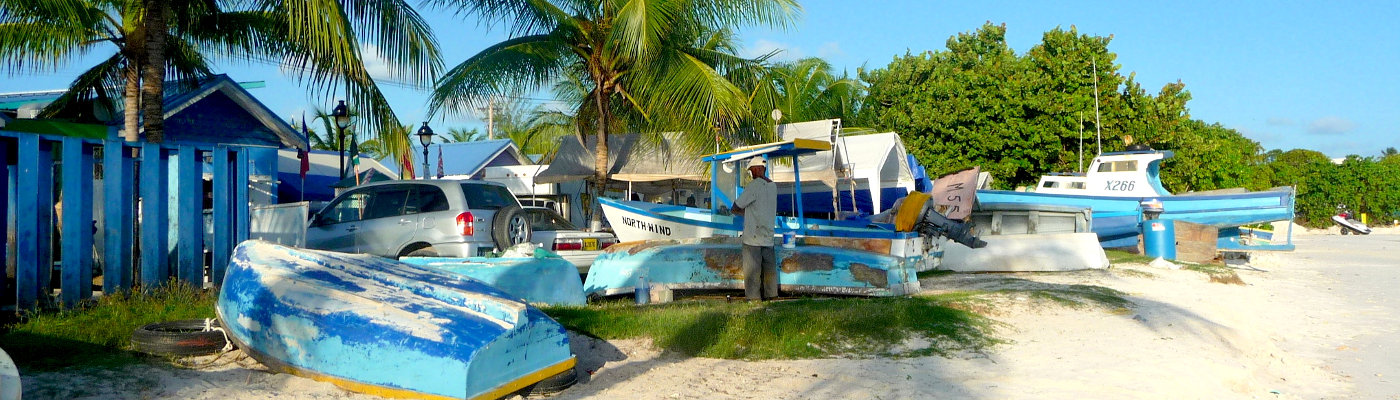 Fishing boats on Caribbean beach